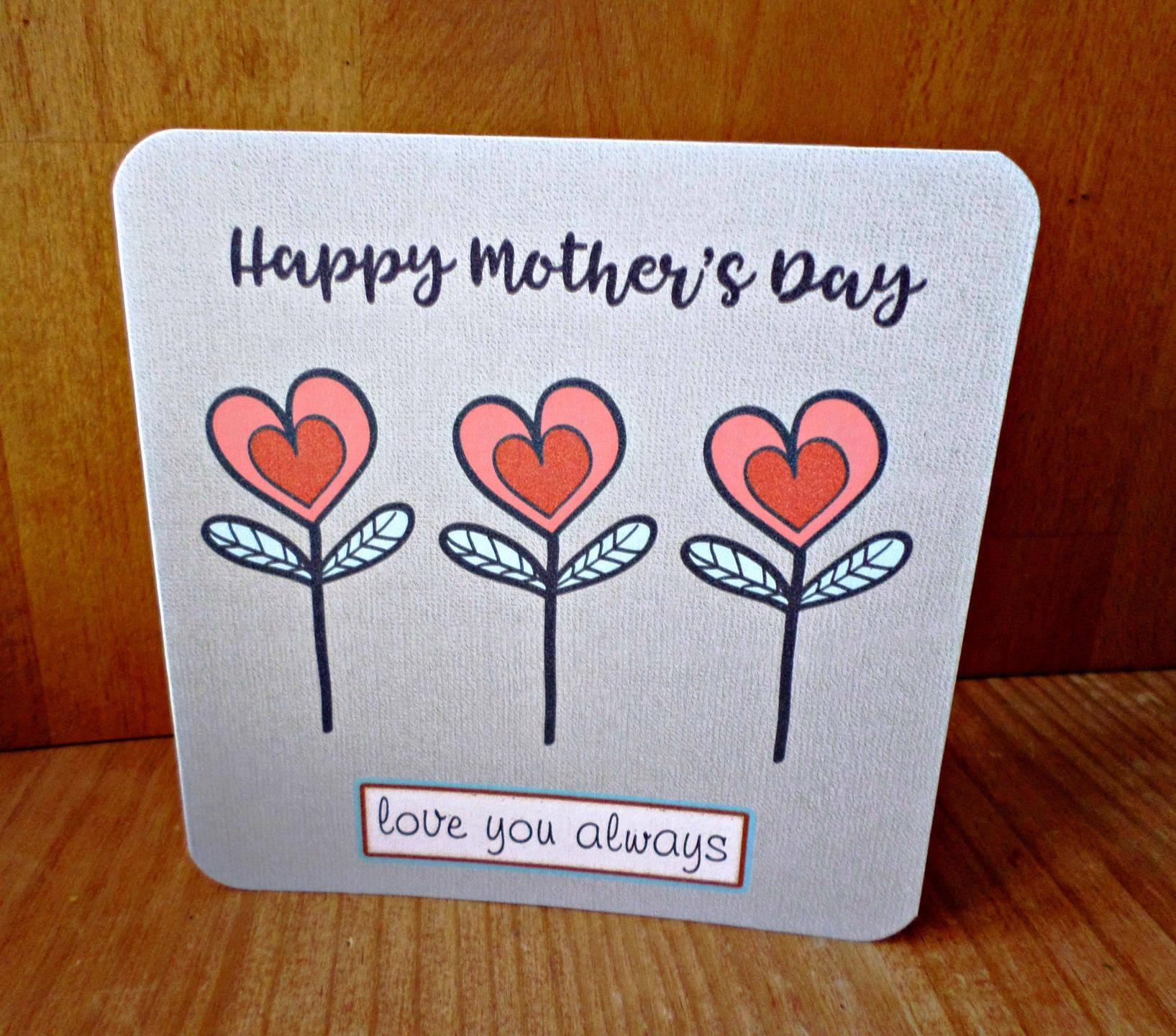 Carte double 'Happy Mother's day' avec enveloppe 15cm x 21cm