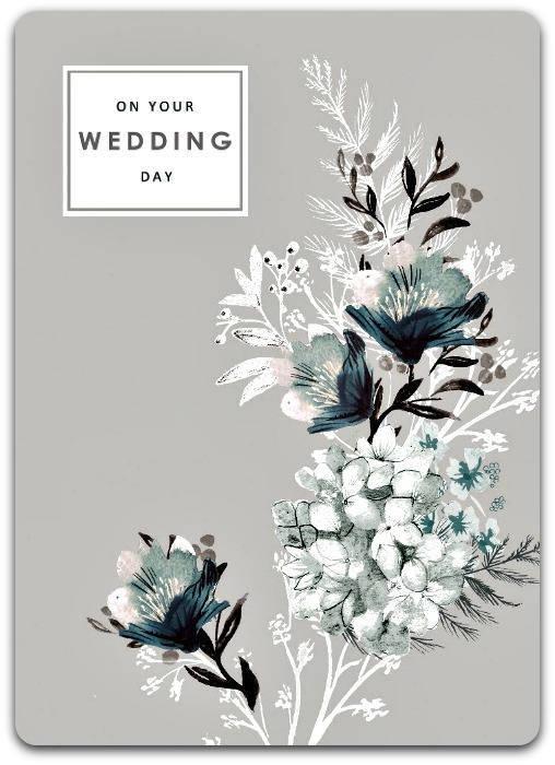 Carte double 'On Your Wedding Day' faite à la main fleurie 17cm x 12.5cm