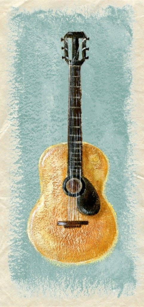 Carte double création originale Guitare 15cm x 21cm