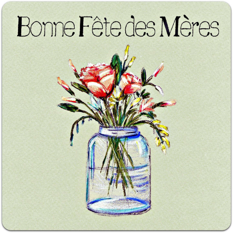Carte double 'Bonne Fête des Mères' avec enveloppe 15cm x 15cm