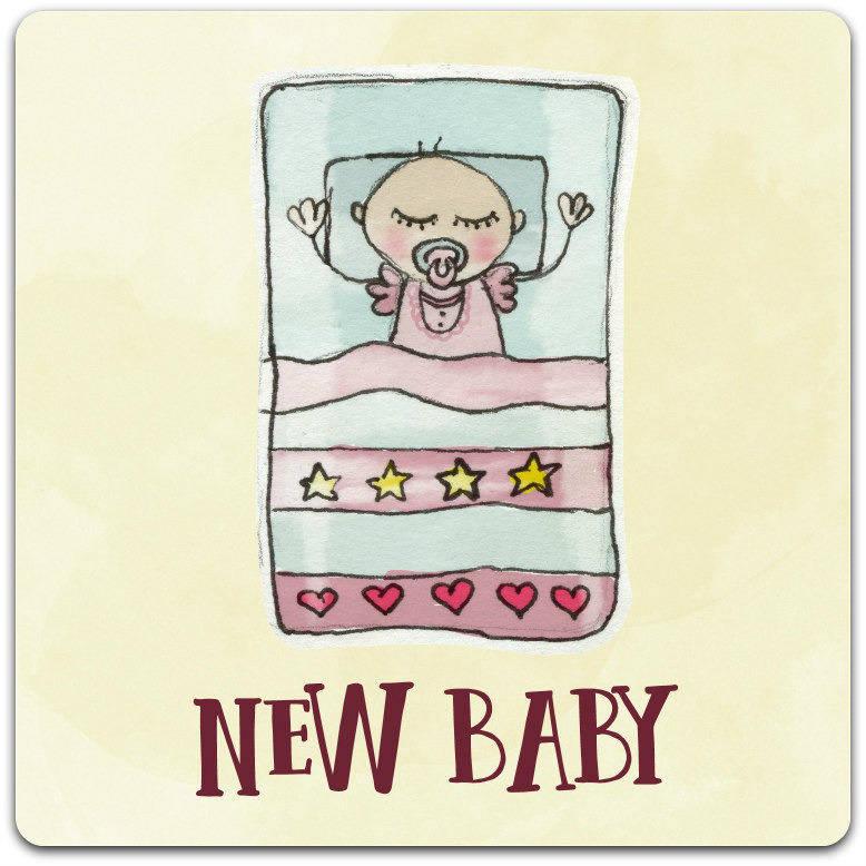 Carte double 'New Baby' création originale fait main 15cm x 15cm
