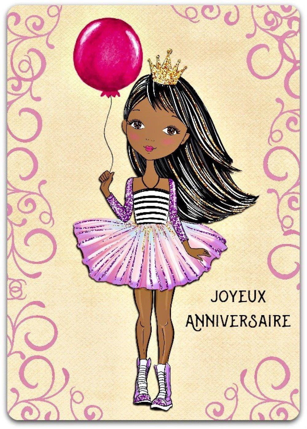 Carte De Voeux Joyeux Anniversaire Ballon Princesse Fille 125cm X 175cm