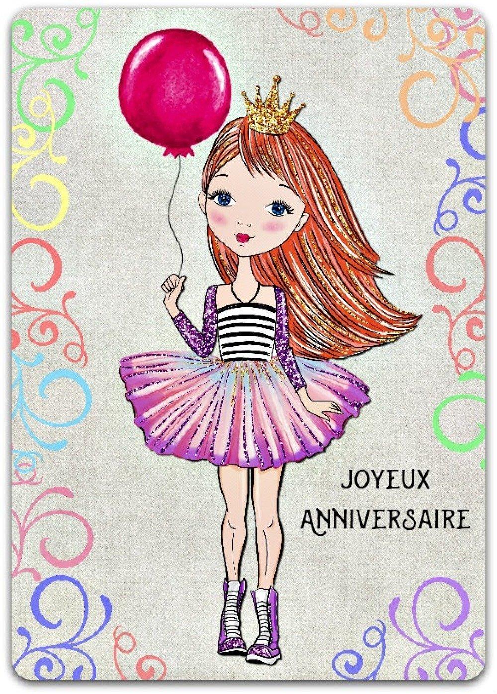 Carte De Voeux Joyeux Anniversaire Ballon Princesse Fille 12 5cm X 17 5cm Un Grand Marche