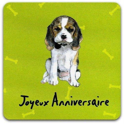 Carte Double Joyeux Anniversaire Chien 15cm X 15cm Un Grand Marche