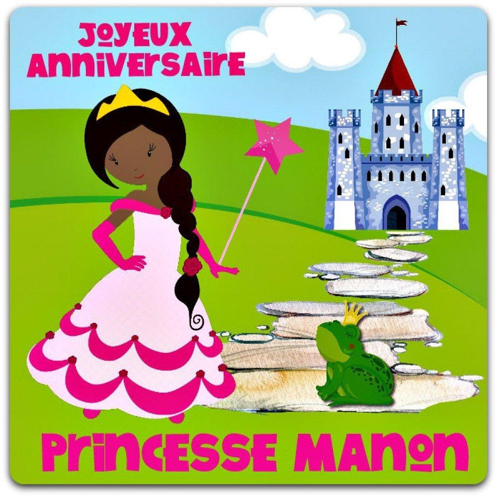 Princesse Carte anniversaire birthday card Princess personnalisable à personnaliser fille 15cm x 15cm