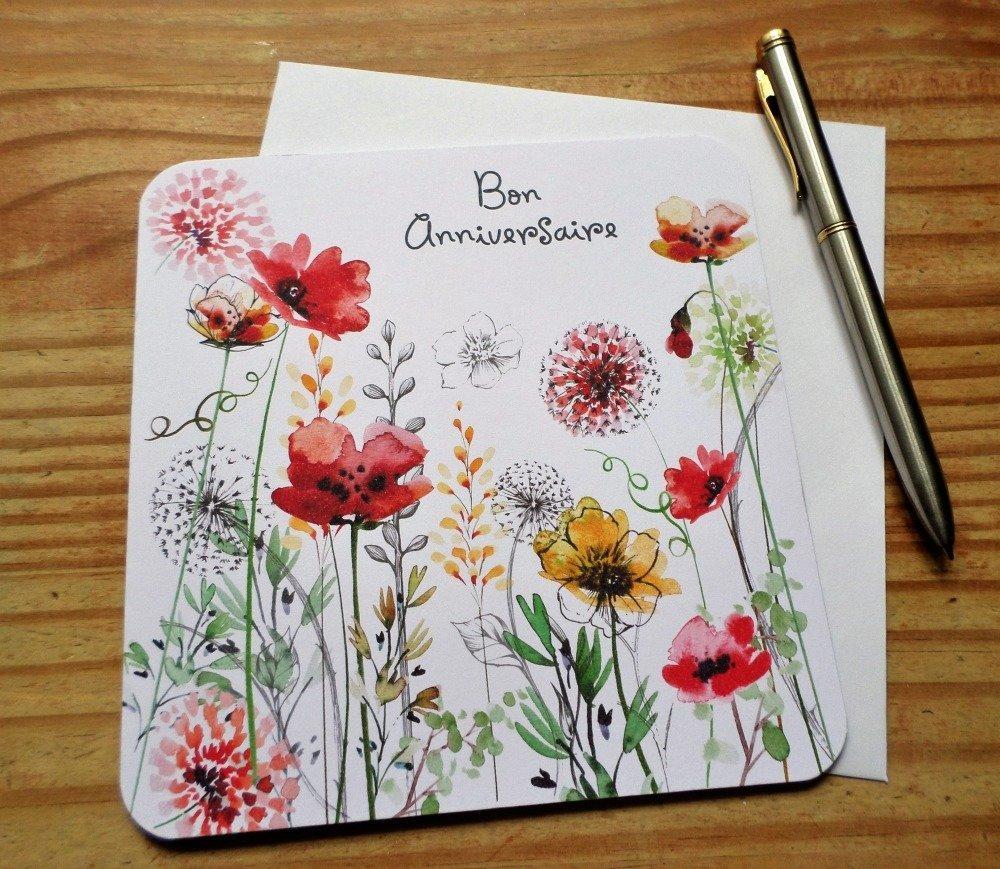 Carte double Fleurs Bon Anniversaire 15cm x 15cm - Card Bubble