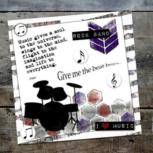 Carte Anniversaire Musique Batterie Creation Originale Fait Main 15cm Un Grand Marche