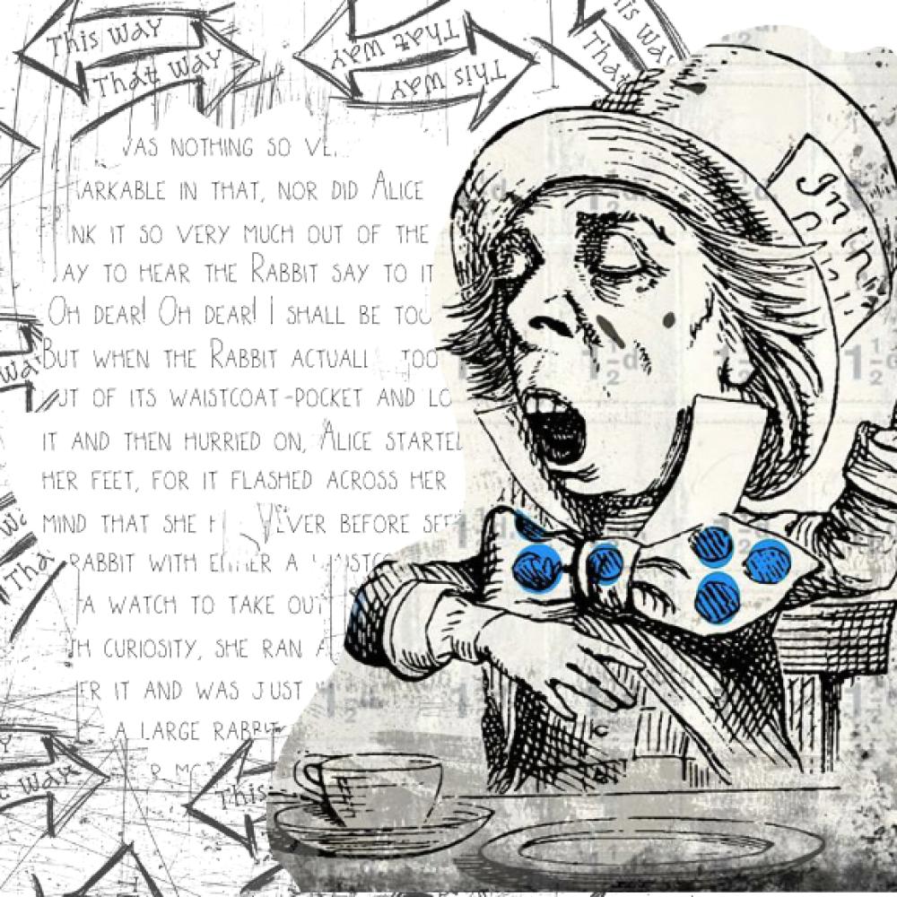 Alice au Pays des Merveilles Le Chapelier Fou carte de voeux toute occasion anniversaire Alice in Wonderland