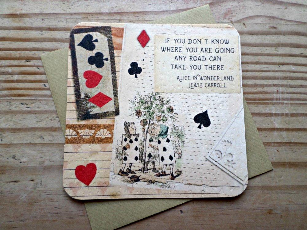 Lot de 4 cartes de voeux Alice au Pays des Merveilles in Wonderland