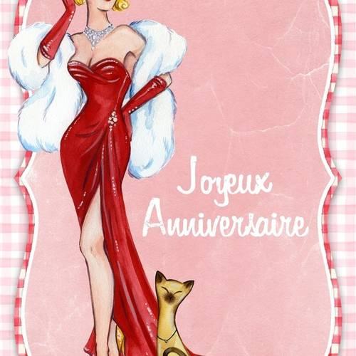 Carte Joyeux Anniversaire Faite Main 1950 S Retro 21cm X 15cm Un Grand Marche