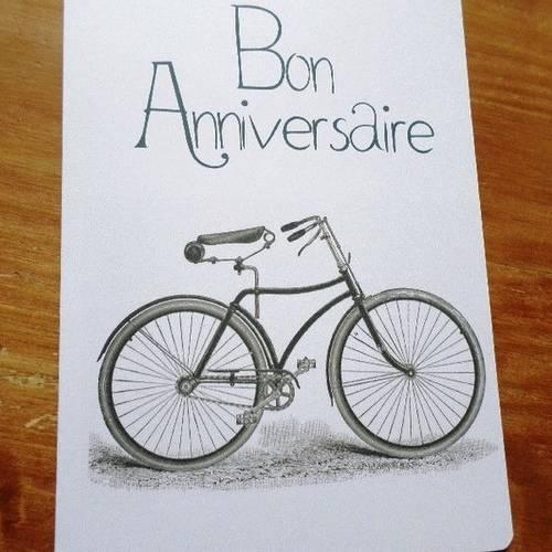 Carte Velo Cyclisme Bike Bon Anniversaire Faite Main 21cm X 15cm Un Grand Marche