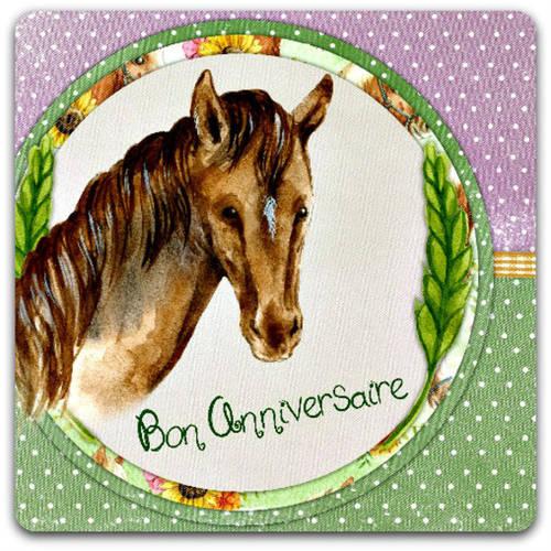 Carte Double Faite Main Bon Anniversaire Cheval Horse 15cm X 15 Cm Avec Enveloppe Card Bubble Un Grand Marche