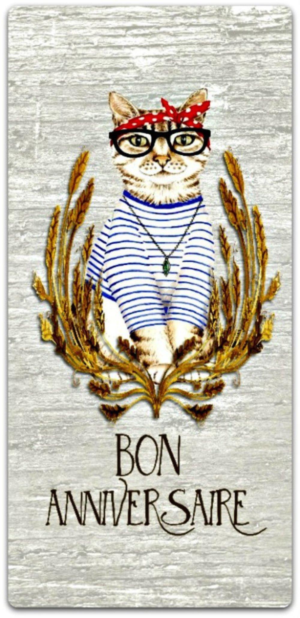 Carte Joyeux Anniversaire Le Beau Chat Fait Main 21cm X 10cm Un Grand Marche