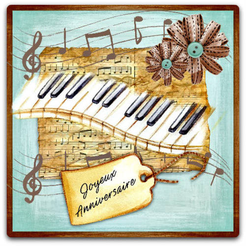 Carte double faite-main 'joyeux anniversaire' piano musique 15cm x 15 cm avec enveloppe - card bubble