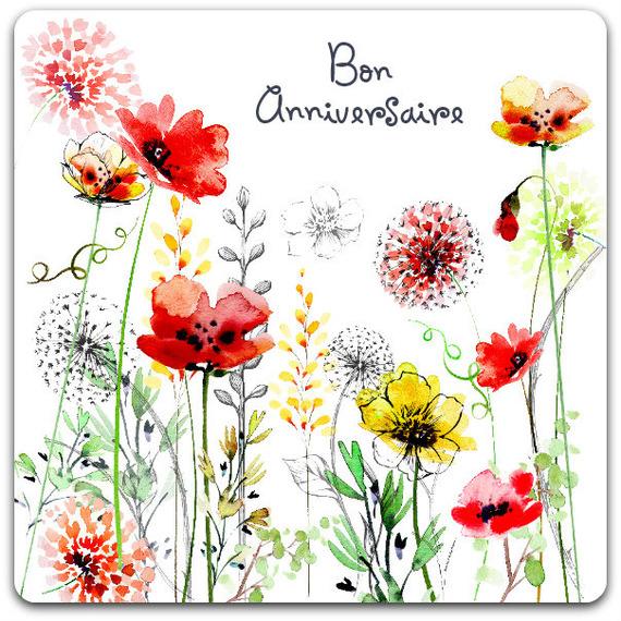 Carte double fleurs bon anniversaire 15cm x 15cm - card bubble - Un grand  marché