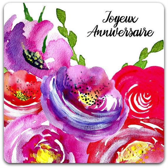 Carte Double Fleurs Joyeux Anniversaire 15cm X 15cm Card Bubble Un Grand Marche