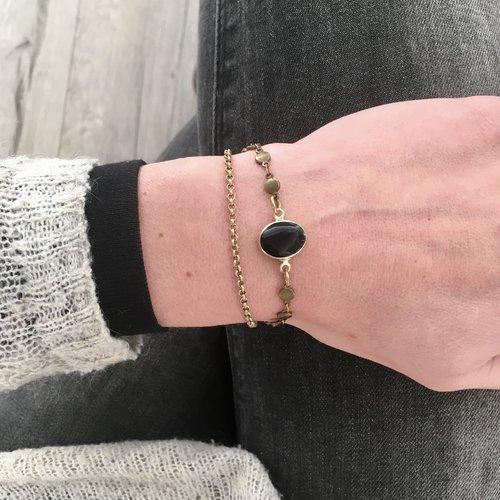 Bracelet chaine obsidienne noire