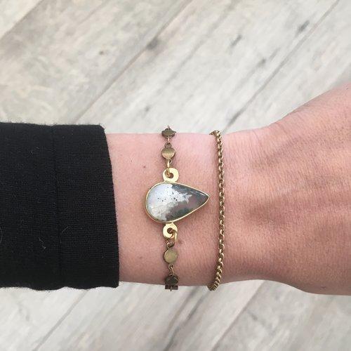 Bracelet chaines agate mousse