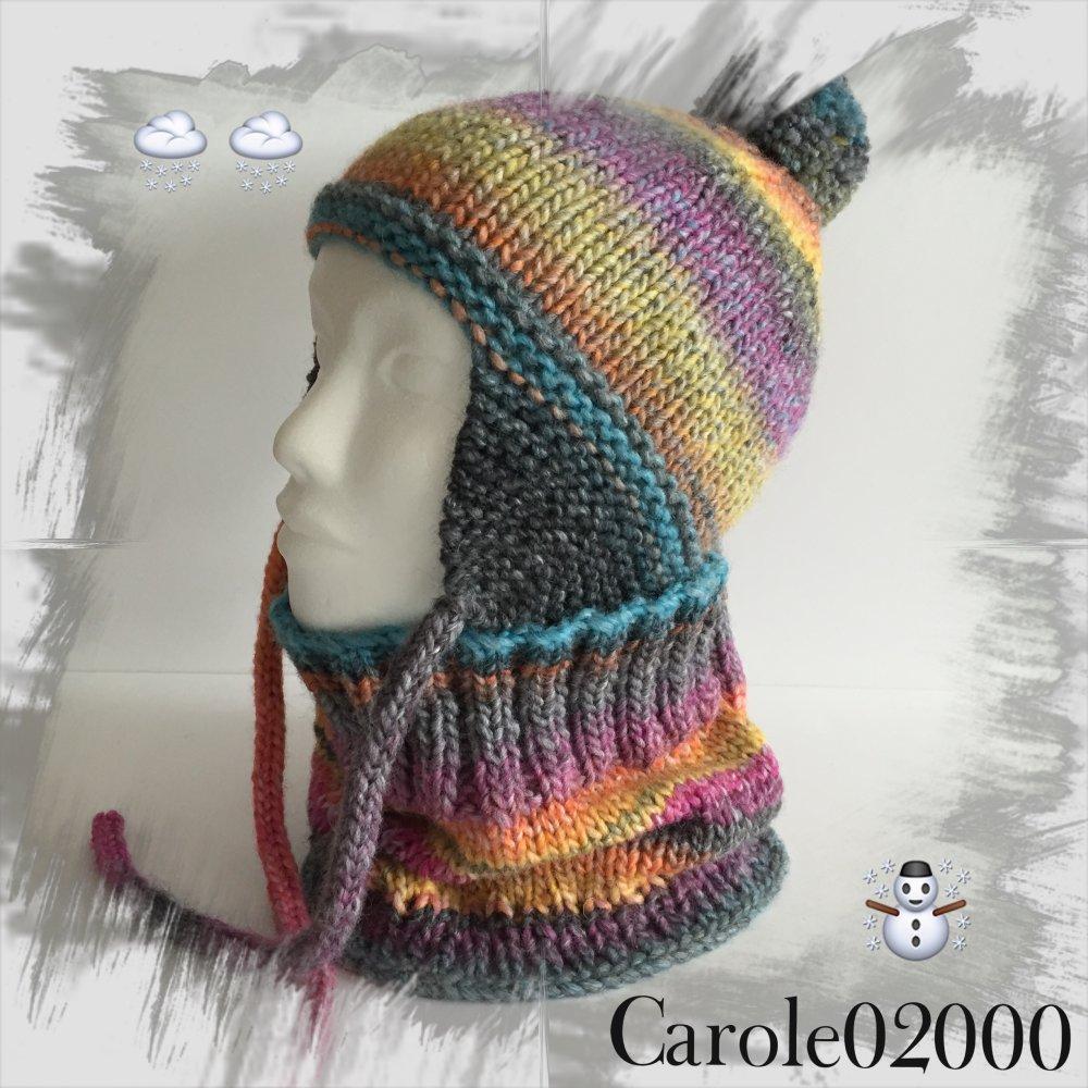 Ensemble Enfant (5/8 ans) bonnet style péruvien et snood tour de cou assorti, coloris jaune,orange,vert, bleu, viole