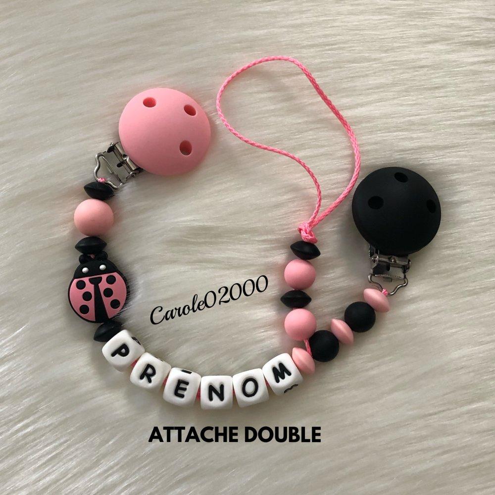 Attache tétine doudou personnalisée en silicone, accroche tutute doudou modèle COCCINELLE, coloris rose bonbon et noir