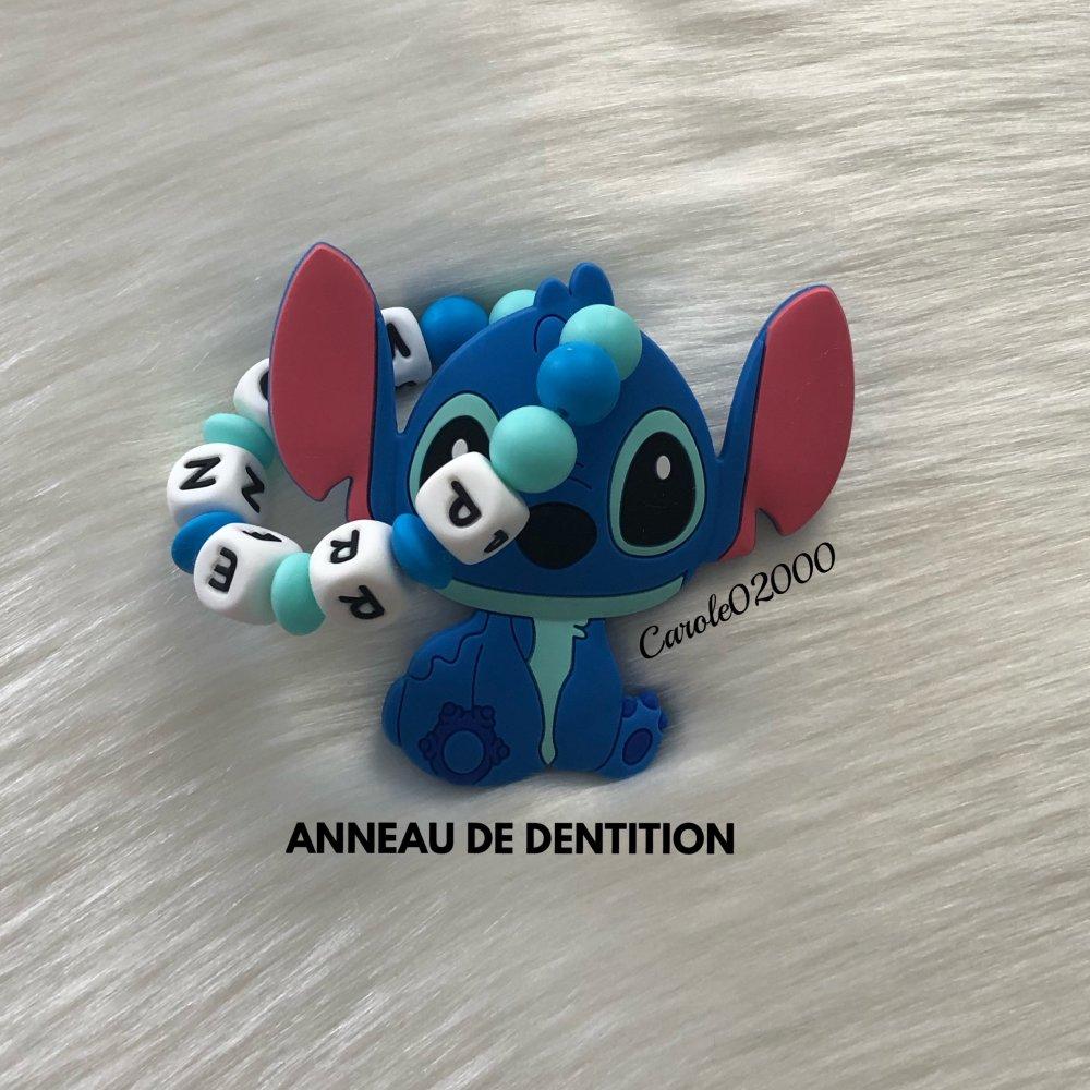Anneau de dentition personnalisé en silicone, hochet anneau dentaire, jouet spécial dentition, LILO & STITCH, bleu azur et bleu vert d'eau