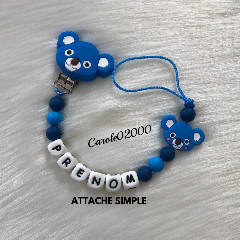Attache tétine personnalisée en silicone, accroche tutute sucette modèle KOALA, coloris bleu azur et bleu foncé