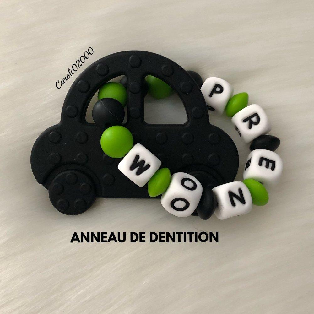 Anneau de dentition personnalisé en silicone, hochet anneau dentaire, jouet spécial dentition, VOITURE, coloris noir et vert pomme