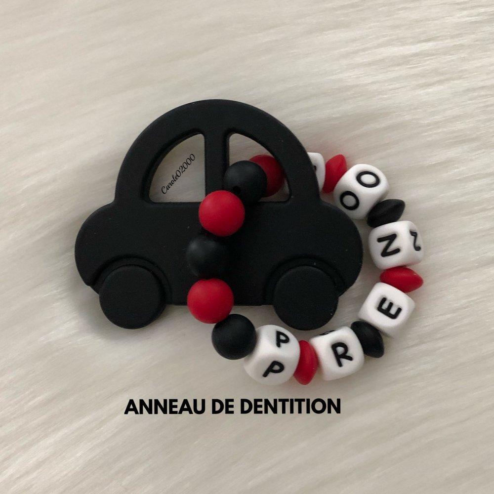 Anneau de dentition personnalisé en silicone, hochet anneau dentaire, jouet spécial dentition, VOITURE, noir et rouge