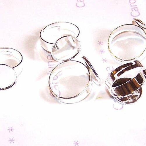 5 supports de bagues plateau petit serti 14 mm argentés réglables pour cabochons