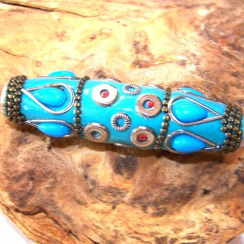 Grande perle artisanale turquoise bleu tibet 60 mm pour la création de bijoux