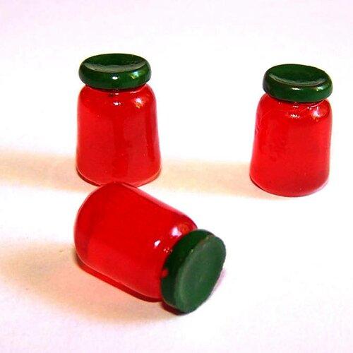 3 minis pots de confitures kaiwaii en résine rouge pour la création de bijoux ou de décoration