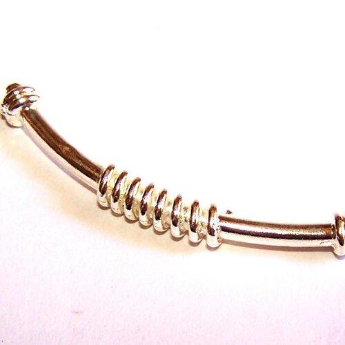 """1 perle grand tube 50 mm """"ressorts"""" plaquée argent 10 microns pour la création de bijoux"""