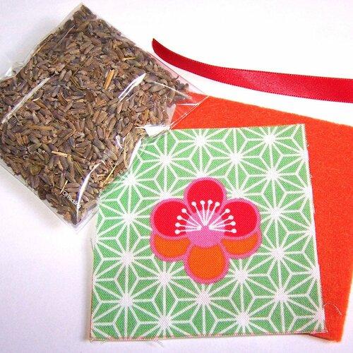 Kit petit coussin de provence au lavandin motif kawaii fleurs sur fond vert