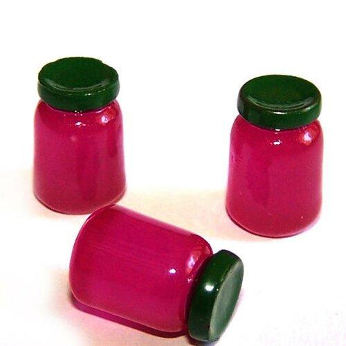3 minis pots de confitures kawaii en résine violet pour la création de bijoux ou de décoration