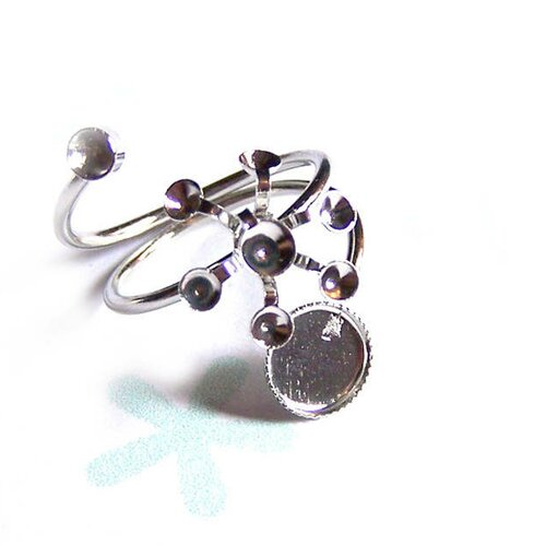 Supports de bagues x 5, pour strass et cabochon fleur en métal argenté