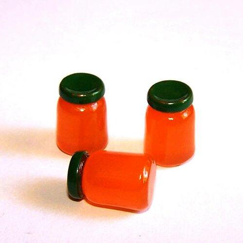 3 minis pots de confitures kawaii en résine orange pour la création de bijoux ou de décoration