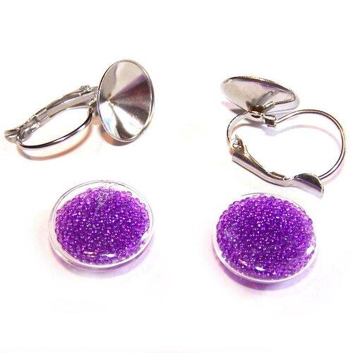 Kit boucles d'oreilles globes ronds 14 mm en verre rempli de micro billes violettes et supports dormeuses en métal argenté