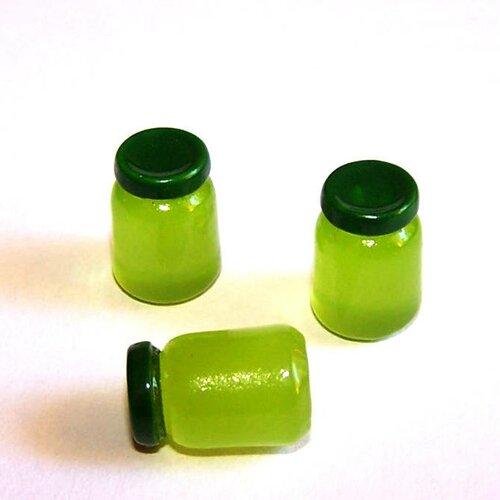 3 minis pots de confitures kawaii en résine vert pour la création de bijoux ou de décoration