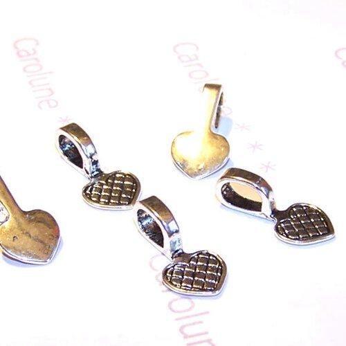 5 attaches coeurs à coller pour globe en verre en métal argenté
