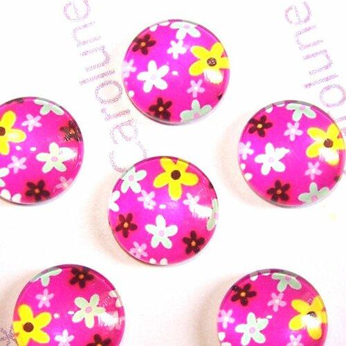 6 cabochons ronds 14 mm en verre motifs fleurs pop rose