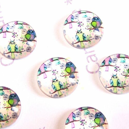 6 cabochons ronds en verre 14 mm en verre motifs hiboux pour la création de bijoux
