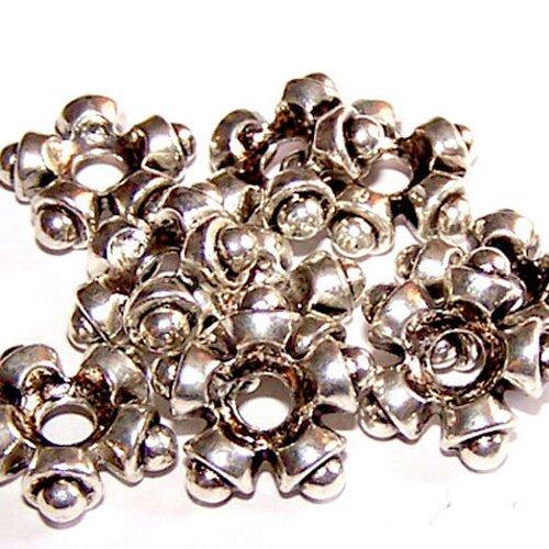 10 perles étoiles 11 mm en métal argenté (tibetan silver) pour la création de bijoux