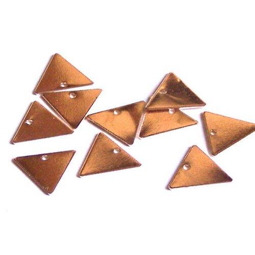 10 sequins triangles 13 mm un trou en métal argenté rose