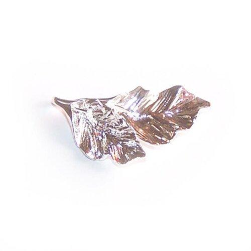 Breloque double feuille 32x12 mm plaqué argent pour la création de bijoux