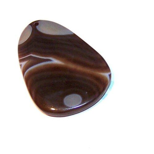 Pendentif en agate forme goutte 56x37 mm pierre de gemme marron et gris (pamg1)