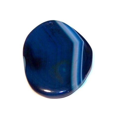 Pendentif en agate forme goutte 48x38 mm pierre de gemme bleu (pable3)
