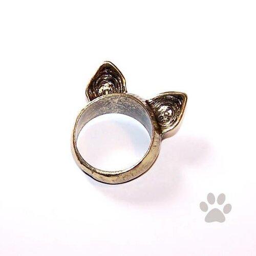 Bague oreille de chat en métal, couleur bronze
