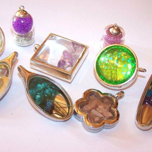 Lot de 9 pendentifs en verre, globes, cabochons, pour la création de bijoux
