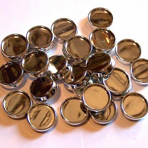 14 supports double pour cabochons de 20 mm en acrylique argenté pour la création de bijoux