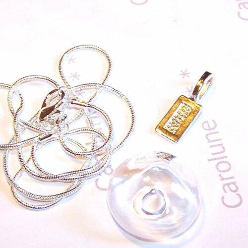 Kit pendentif globe dôme 26 mm en verre, bélière, chaîne en argent 925